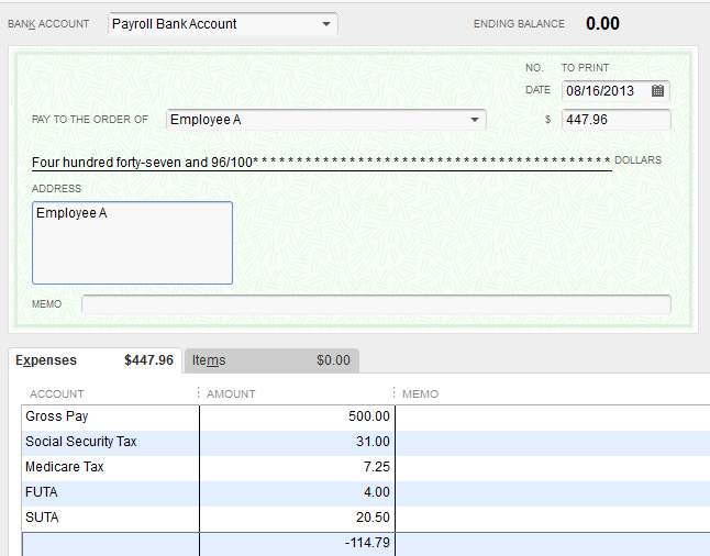 actual check feature quickbooks 2