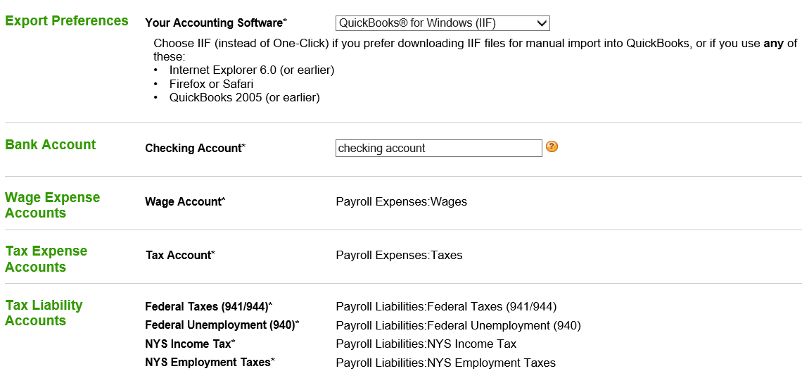 quickbooks export function