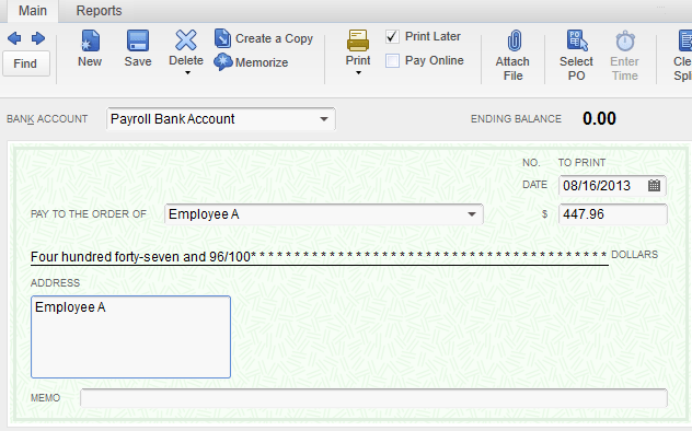quickbooks payroll bank account